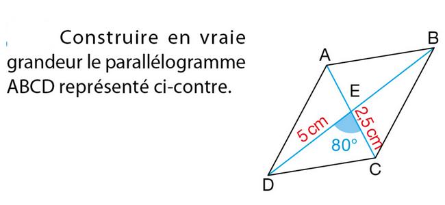 Construction d'un parallélogramme : exercices en 5ème.