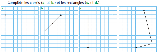 Compléter les carrés et les rectangles : exercices en CM1.