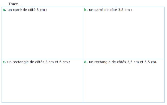 Tracer des carrés et des rectangles : exercices en CM1.
