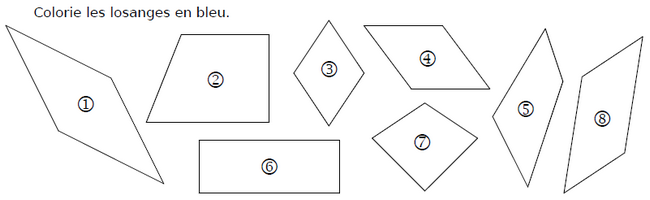 Colorier les losanges : exercices en CM1.