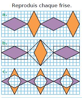 Reproduire des frises : exercices en CM1.