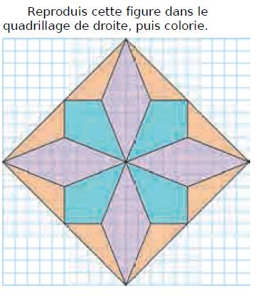 Reproduire une figure dans le quadrillage : exercices en CM1.