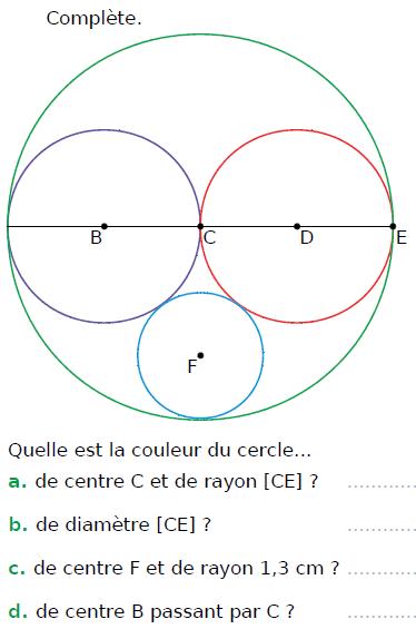 Cercle et vocabulaire : exercices en CM1.
