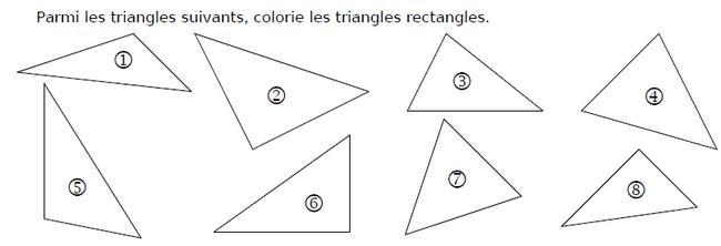 Les triangles rectangles : exercices en CM1.