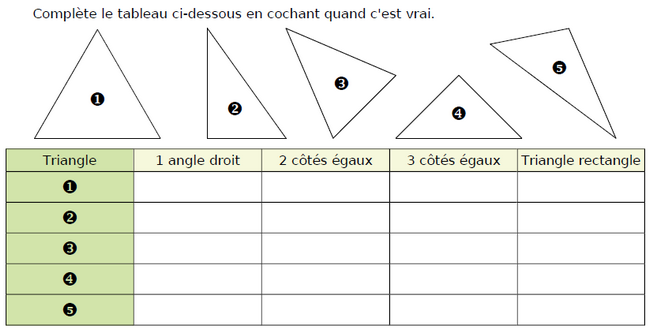 Triangles particuliers : exercices en CM1.
