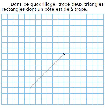Tracer des triangles sur quadrillage : exercices en CM1.