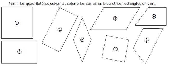 Les quadrilatères : exercices en CM1.