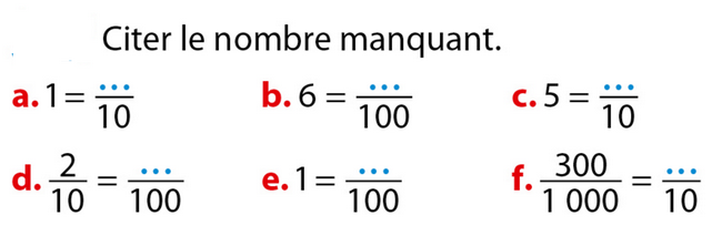 Quotients par 10, 100, 1 000 : exercices en 6ème.