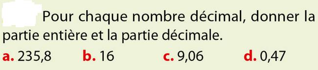 Partie entière et décimale : exercices en 6ème.