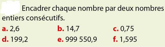 Encadrer un nombre décimal : exercices en 6ème.