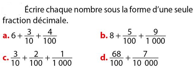 Ecriture en fraction décimale : exercices en 6ème.