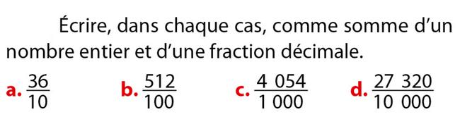 Somme d'un entier et d'une fraction décimale : exercices en 6ème.