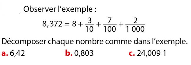 Décomposer un nombre : exercices en 6ème.