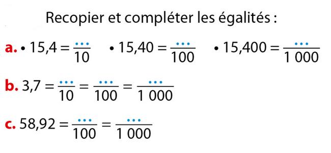 Compléter les égalités : exercices en 6ème.