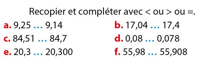 Comparer des nombres décimaux : exercices en 6ème.