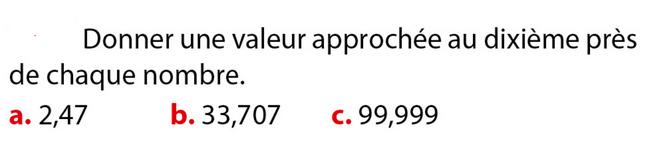 Valeur approchée d'un nombre décimal : exercices en 6ème.