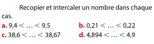 Intercaler un nombre : exercices en 6ème.