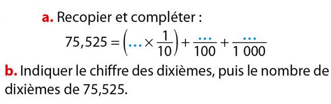 Décomposition d'un nombre décimal : exercices en 6ème.