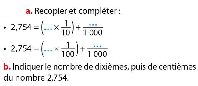 Décomposer un nombre décimal : exercices en 6ème.