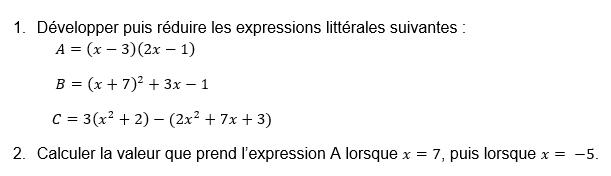 Développement et substitution d'expressions : exercices en 3ème.