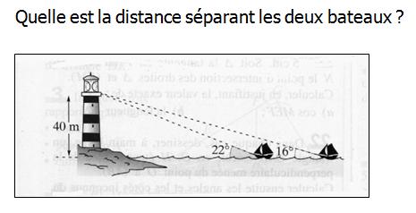 Distance entre deux bateaux : exercices en 3ème.