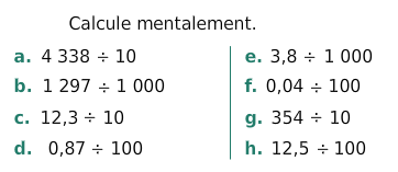 Calculer des quotients mentalement : exercices en 6ème.