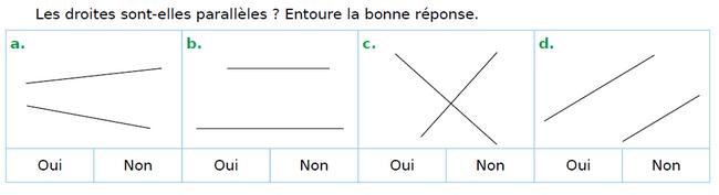 Les droites sont-elles parallèles ? : exercices en CM1.