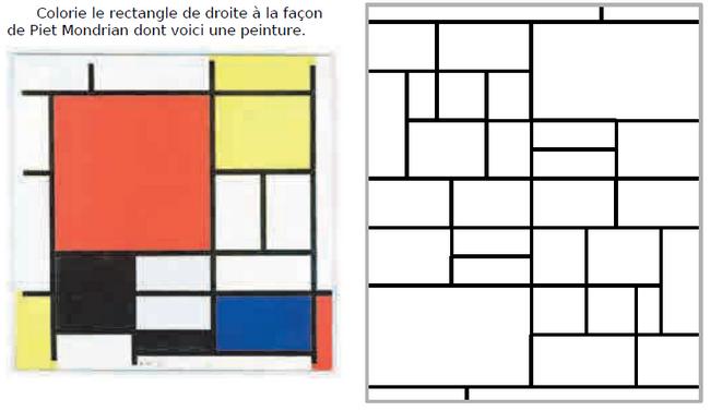 Le rectangle de Piet Mondrian : exercices en CM1.