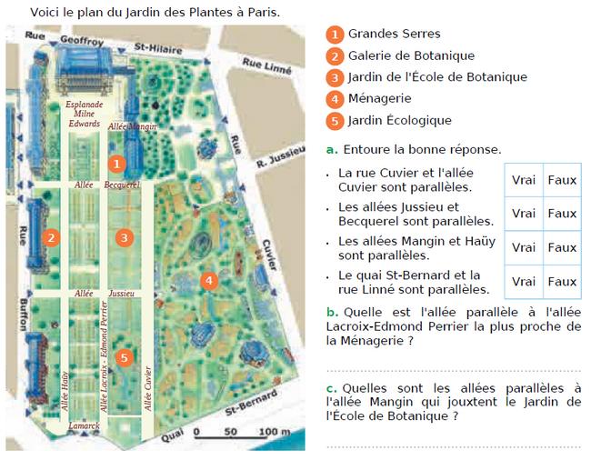 Plan du jardin des plantes à Paris : exercices en CM1.