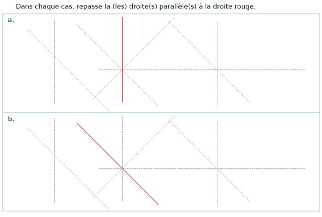 Tracer des droites parallèles : exercices en CM1.