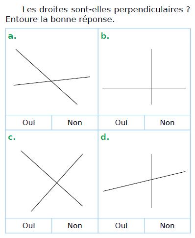 Les droites sont-elles perpendiculaires ? : exercices en CM1.