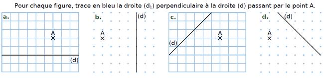 Tracer des droites perpendiculaires : exercices en CM2.