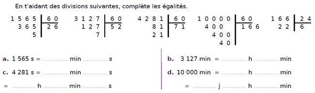 Divisions euclidiennes et durées : exercices en CM2.