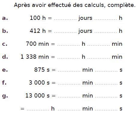 Conversions de temps  : exercices en CM2.