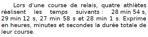 Problème d'une course de relais : exercices en CM2.