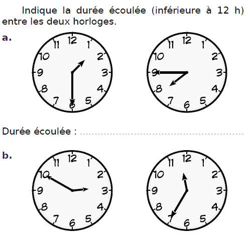 Indiquer la durée écoulée : exercices en CM2.
