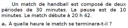 Un match de handball : exercices en CM2.
