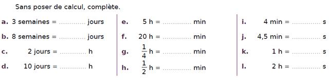Convertir des durées : exercices en CM2.