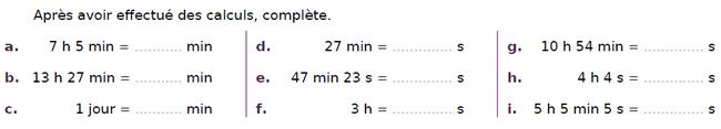 Conversion de durées : exercices en CM2.