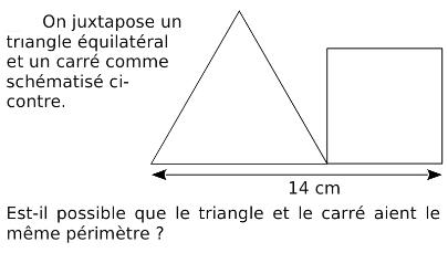 Triangle équilatéral et carré de même périmètre : exercices en 4ème.