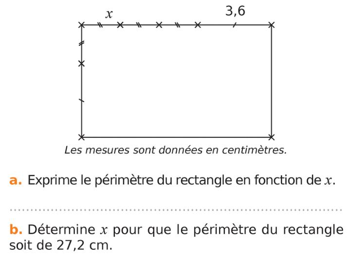 Périmètre d'un rectangle : exercices en 4ème.