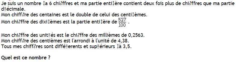Retrouver un nombre décimal : exercices en 6ème.