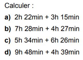 Calculs de durées : exercices en 6ème.