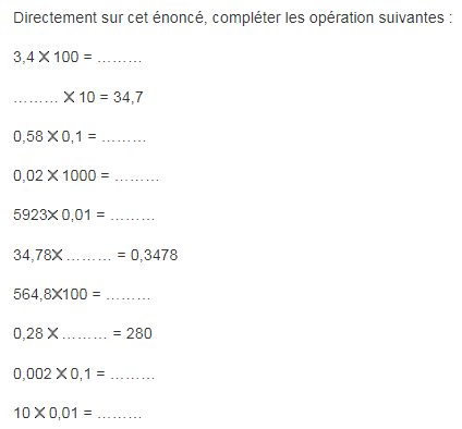 La multiplication : exercices en 6ème.