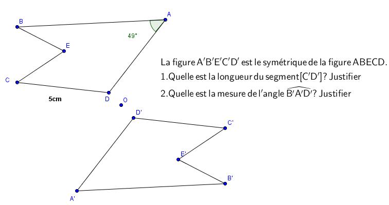 Démonstration et symétrie centrale : exercices en 5ème.