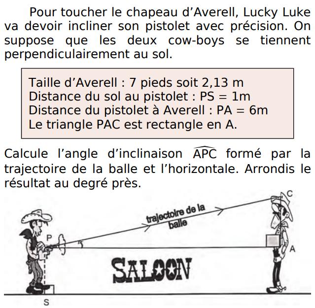 Lucky Luke et le chapeau d'Averell : exercices en 3ème.