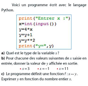 Programme avec le langage Python : exercices en 2de.
