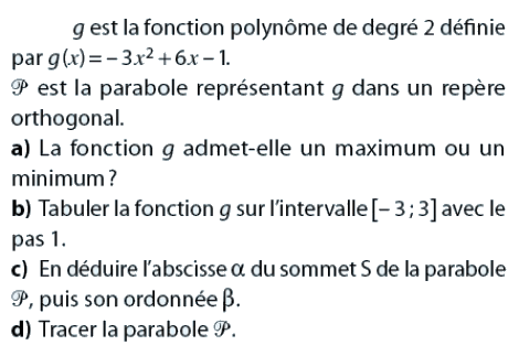 Fonction polynôme et parabole : exercices en 2de.