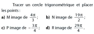 Placer des points sur un cercle trigonométrique : exercices en 2de.