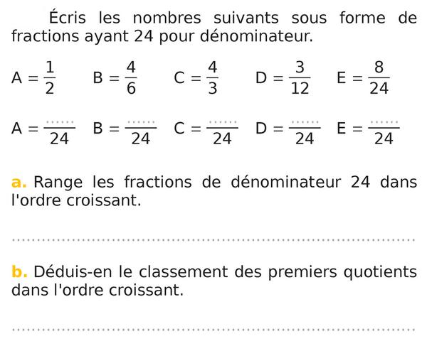 Ranger dans l'ordre croissant des fractions : exercices en 5ème.